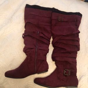 Burgundy thigh high boots